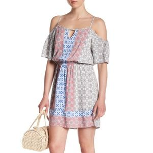 Skies Are Blue Geometric Cold Shoulder Dress Large
